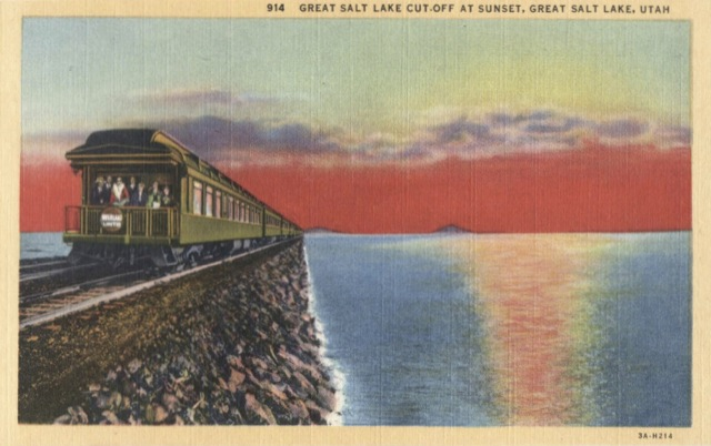 Southern Pacific loved to advertise using photos of its trains crossing the Great Salt Lake